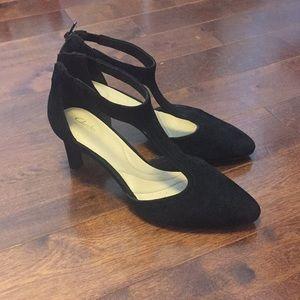 Clarks t-strap suede heels